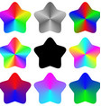 Abstract isolated gradient rainbow star set vector image
