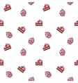 Colorful hand drawn cakes seamless pattern vector image