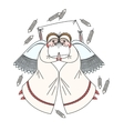 Cute scene with angels on the pillow White vector image