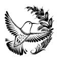 decorative silhouette hummingbird in flight vector image