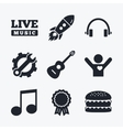 Musical elements icon Music note and guitar vector image