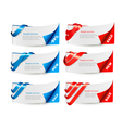 Red and blue sale banners with ribbons vector image