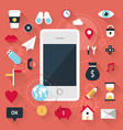 Smartphone with icons Mobile concept in flat vector image