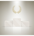 Sport winners pedestal with laurel wreath vector image