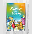 summer party invitation card cocktail party flyer vector image