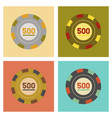 assembly flat icons poker chips vector image
