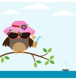 Owl with sunglasses vector image vector image