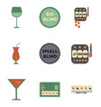 assembly flat icons casino poker game vector image