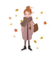 autumn fashion cartoon girl listening to music vector image