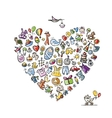 Baby toys frame heart shape for your design vector image