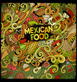cartoon mexican food doodles frame design vector image