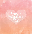 Heart on watercolour valentines day background vector image