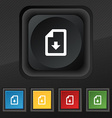 import download file icon symbol Set of five vector image