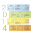 Russian 2014 color calendar vector image