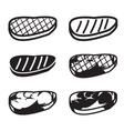 Set of grilled meat icon vector image