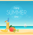 summer poster of cocktail and vector image
