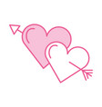 two love hearts romantic cupid valentine image vector image