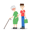Man helping elder Boy helps old lady Flat style vector image