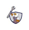 Mechanic Bald Eagle Spanner Crest Cartoon vector image