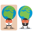 Businessman Holding Earth vector image