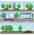 City landscape with road and park concept vector image