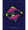 Zodiac sign Pisces on night starry sky background vector image