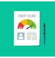 Credit score document  paper sheet chart of vector image
