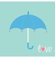 Blue umbrella with hearts Love card vector image
