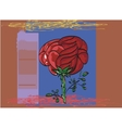 Outlined by a black outline painted red rose vector image