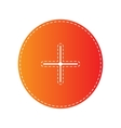 Positive symbol plus sign Orange applique vector image