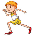 A simple drawing of a boy running vector image