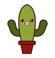 cactus plant in vase kawaii cute cartoon vector image