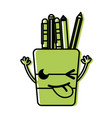 color funny tools cup kawaii with arms vector image