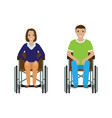 disability people man and woman in wheelchair vector image