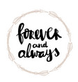 forever and always hand written typography poster vector image
