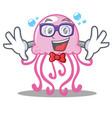 geek cute jellyfish character cartoon vector image