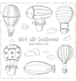 Hot Air Balloons doodle set Vintage vector image