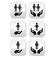 Man woman and couples with hands buttons set vector image