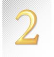 3d matt golden number collection - two 2 vector image