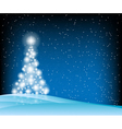 stars Christmas tree blue vector image vector image