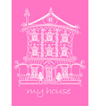Pretty lace doll house on pink background vector image