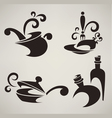 Cooking equipment and food symbols vector image