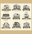 isolated brown color architectural houses icons vector image