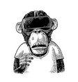 monkey wearing virtual reality headset and t-shirt vector image