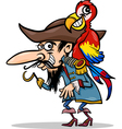 pirate with parrot cartoon vector image