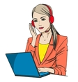 Secretary with headphones and microphone vector image