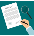 Signing contract green vector image
