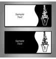 Two horizontal banner black and white with two vector image
