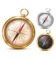 vintage compass in metal case vector image
