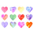 colorful watercolor hearts vector image vector image